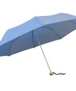 ljusblåa hopfällbara paraplyet