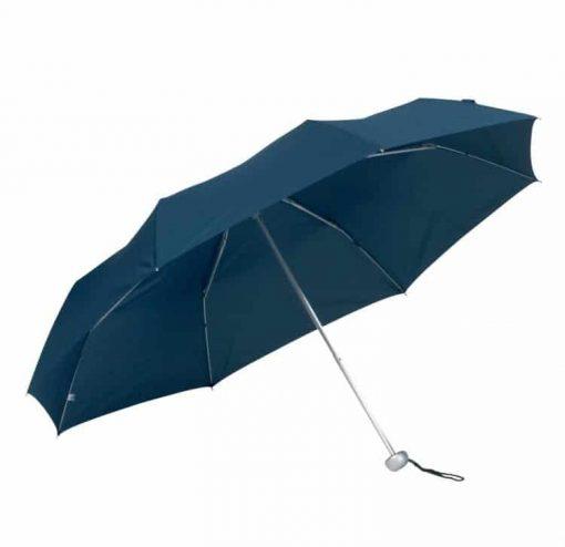 marinblå hopfällbara paraplyet