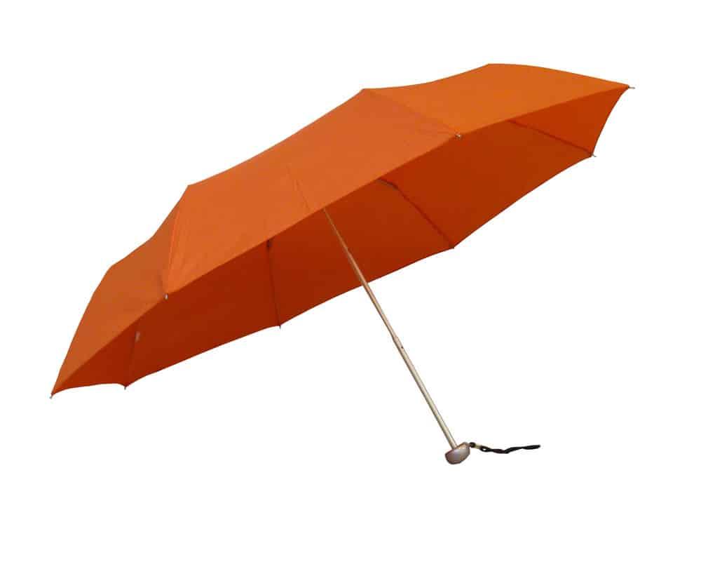Orange hopfällbara paraply med en stormsäker funktion