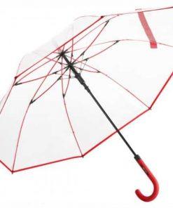 Genomskinligt paraply röd