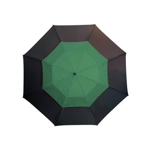 Ett fräckt stort grönt paraply med dubbla skärmar - Herkules