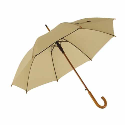 Stort beige paraply stort diameter 103 cm krökt handtag - fri frakt Buddy