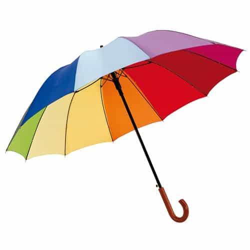Stort regnbågsparaply mångfärgat paraply med 12 panele