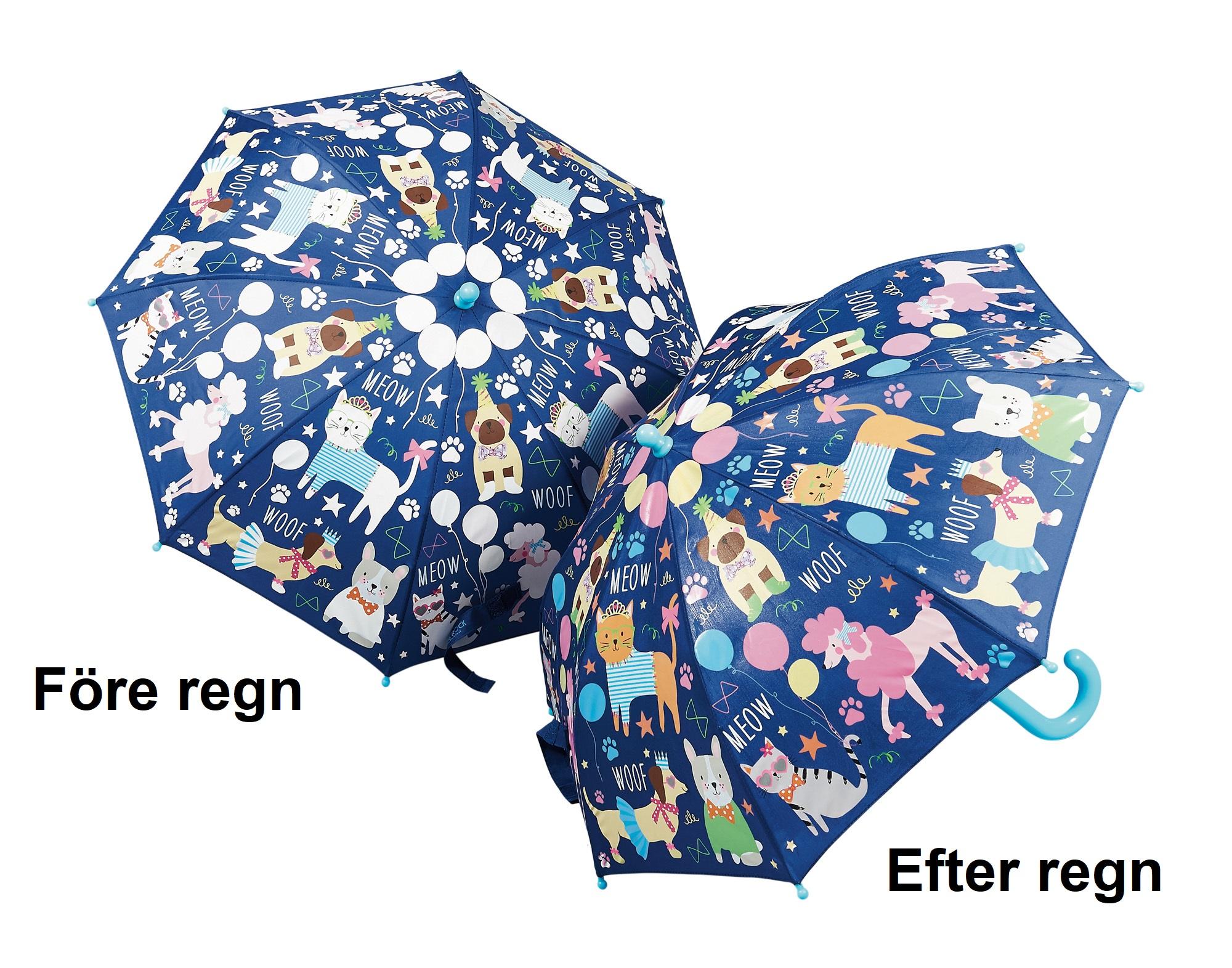 Barn paraply med gulliga djur i skiftande färger - Fri frakt
