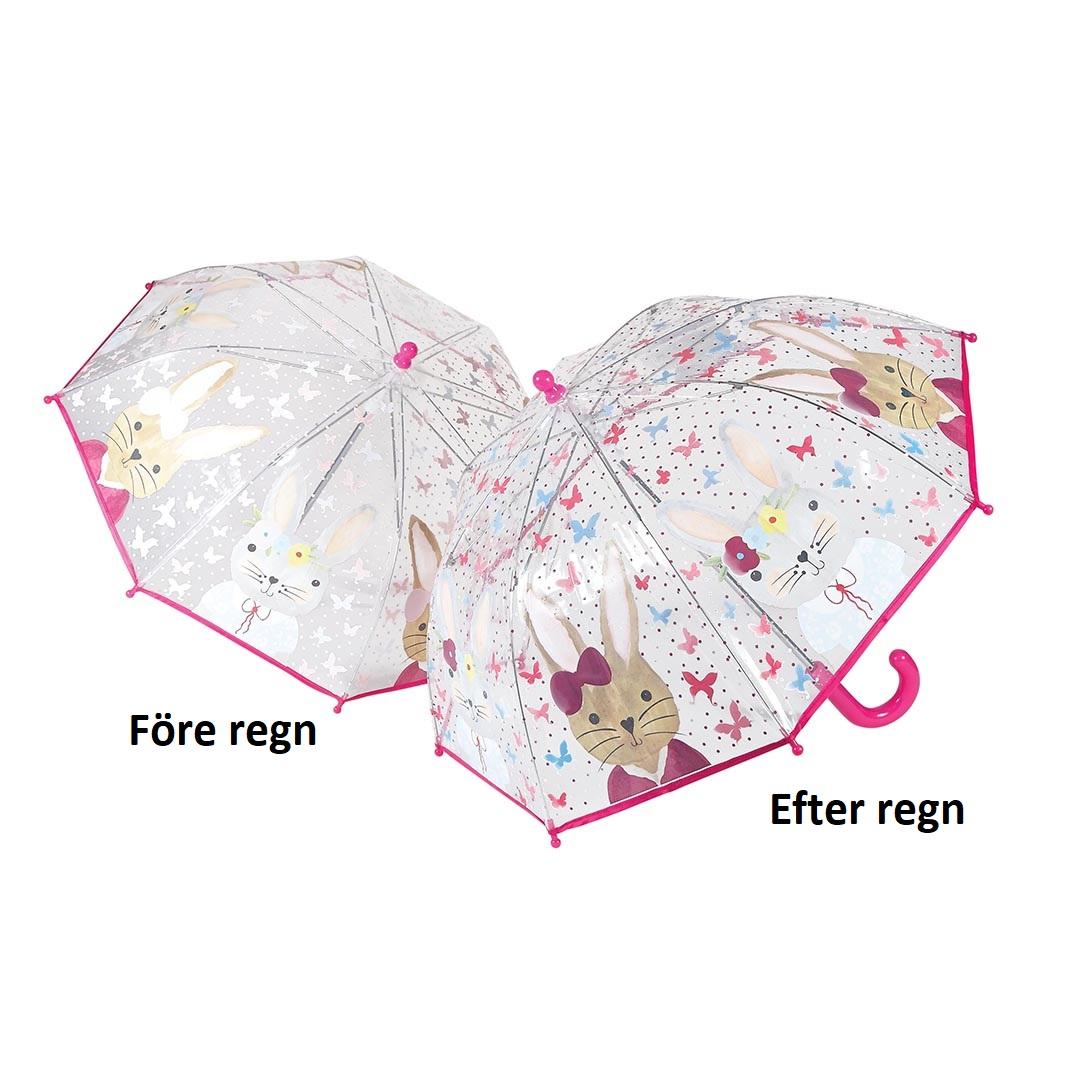 Rosa barnparaply ändrar färg i regnet kanin - Fri frakt