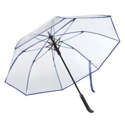 genomskinligt blått paraply